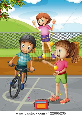 Children hanging out in the park illustration