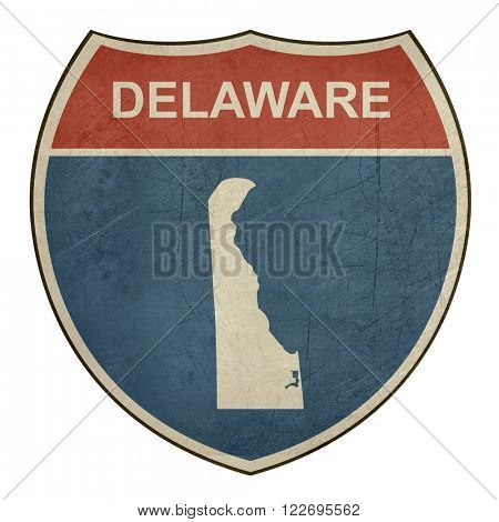 Delaware American interstate highway road shield isolated on a white background.