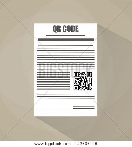 White paper blank document with Qr code. vector illustration in flat design on brown background with long shadow