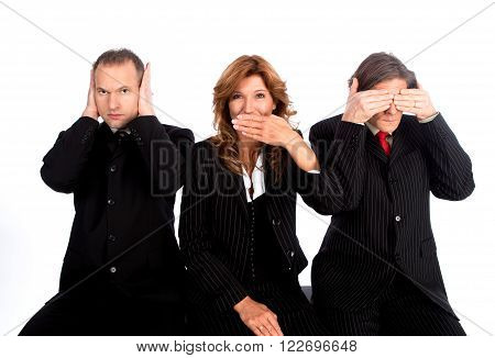 Team showing blind, deaf and dumb with theire hands