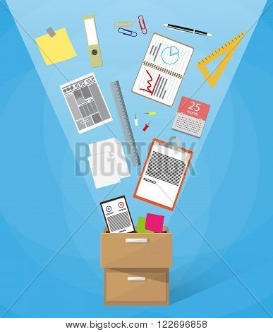 Office furniture. Case, box full of office supplies with folders document papers, calendar, contract, calculator. vector illustration in flat design on blue background