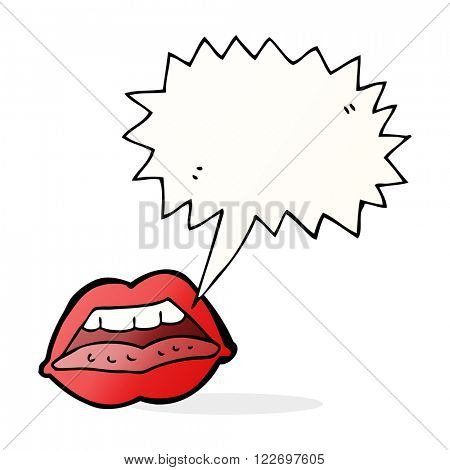 cartoon sexy lips symbol with speech bubble