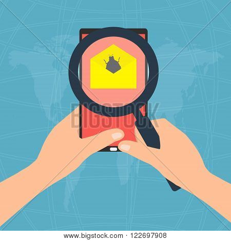 Virus detected found on display screen tablet mobile phone attachment with email and hands holding magnifying glass. Vector illustration flat design technology tablet mobile phone security concept.