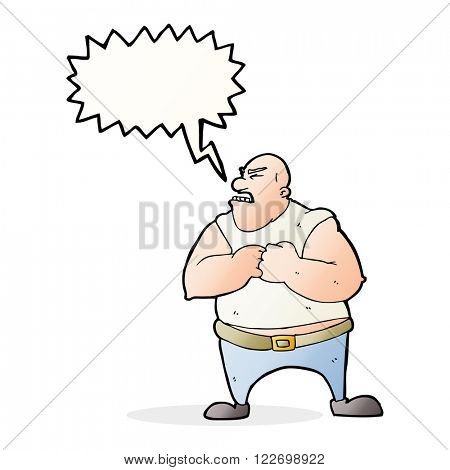 cartoon violent man with speech bubble
