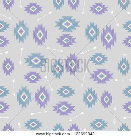 Vector seamless ikat tribal pattern. Boho style ornament. Repetition background for textiles , wrapping paper or wallpapers. Isolated vector illustration.