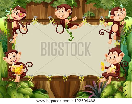 Frame design with monkeys in the woods illustration