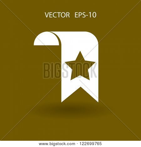 Flat Favorite bookmark icon, vector illustration