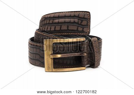 Rolled Dark Brown Mock Crocodile Leather Belt