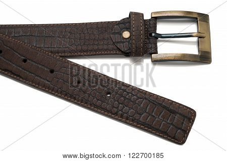 Tip And Buckle Of Brown Faux Leather Belt