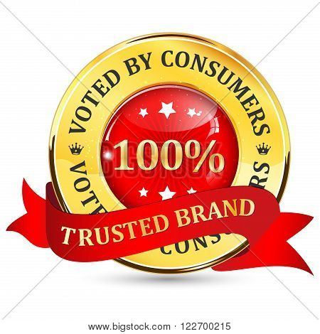 Trusted Brand. Voted by consumers - shiny glossy icon / button with ribbon.