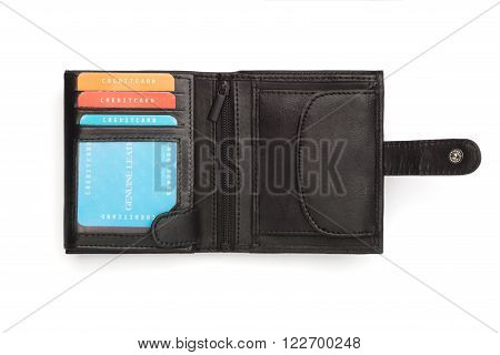 Unfolded Black Leather Wallet With Latch