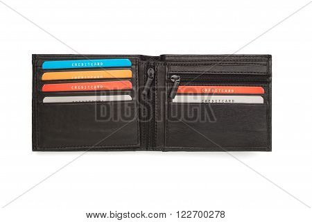 Opened Black Leather Wallet With Multi Card Holders