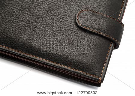 Black Closed Leather Wallet With Latch