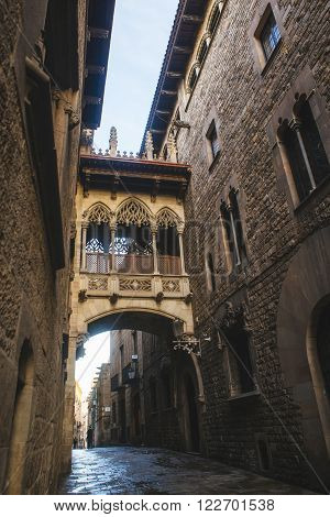 Spain Catalonia Barcelona Bisbe Street in the Gothic Quarter of Barcelona one of the most characteristic streets of the city for its Gothic bridge.