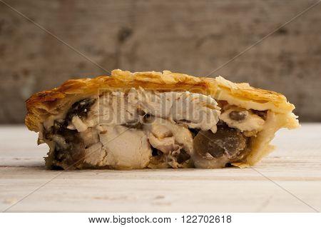 Half Of Chicken And Mushroom Pie