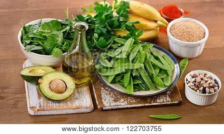 Foods Highest In Vitamin K On  Wooden Board.