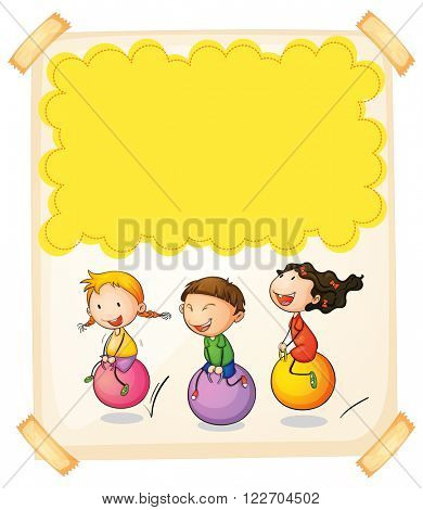 Paper design with three kids on big balls illustration