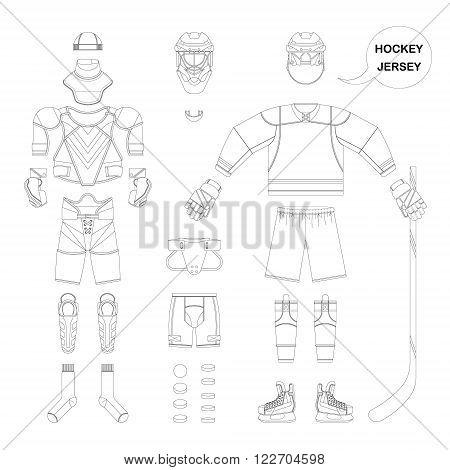 Hockey sports form set. Vector hockey sports form in flat style. Isolated hockey sports form on white background. Hockey sports form template.