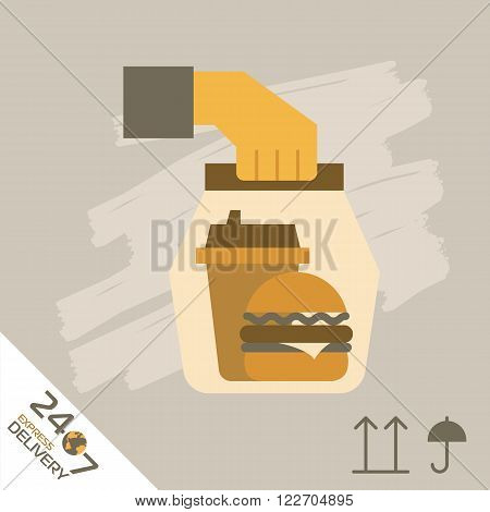 Fast food Delivery, burger and other. Express Delivery Services. Elements of Trucking. Fast Shipping. Icon Delivery raster.