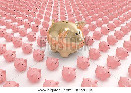 Big golden piggy bank