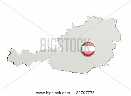 Silhouette Of Austria Map With Austria Flag On Button