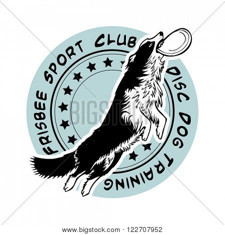 Frisbee sport club, disc dog training, vector logo illustration