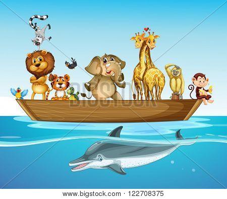 Wild animals on the boat at sea illustration