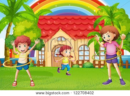 Children exercising in front of the house illustration