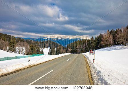 Alpine road near Klippitztorl peak in Alps Carinthia Austria