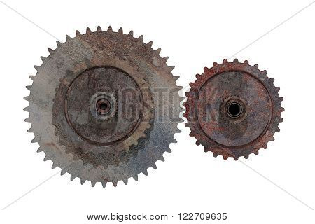 Two Rusty Cogwheels On White Background