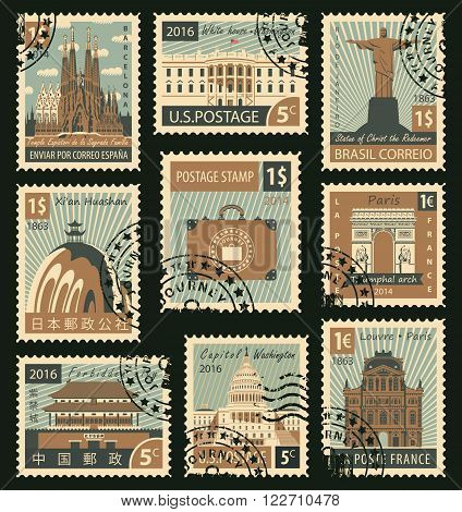 A set of stamps with landmarks from different countries
