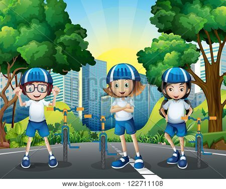 Three kids riding bicycle on the road illustration
