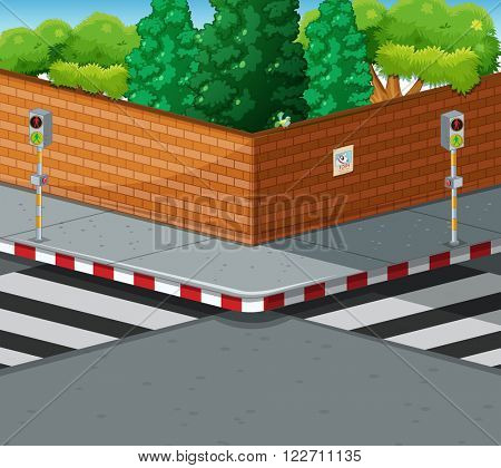 Street corner with two zebra crossings illustration
