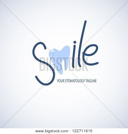 Dental, stomatology clinic logo template with tooth icon. Vector illustration in eps10 format.