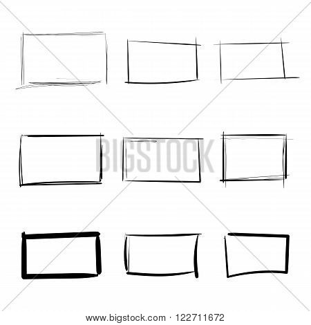 Rectangle templates hand drawn simple set vector