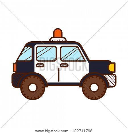 Police car isolated on white background. Vector illustration