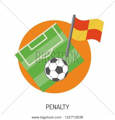 Soccer and Football Flat Icon Set for Flyer, Poster, Web Site like Ball and Penalty.