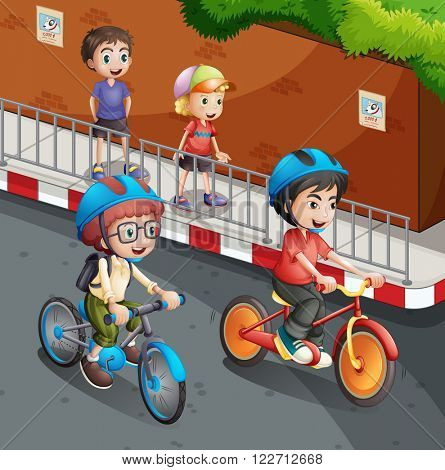 Children riding bicycle on the road with helmet on illustration