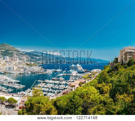 Monte Carlo, Monaco - June 28, 2015: Yachts moored at town quay In Sunny Summer Day. Monaco, Monte Carlo