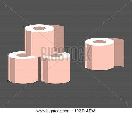 Isolated on gray background pink rolls of toilet paper. Vector illustration.