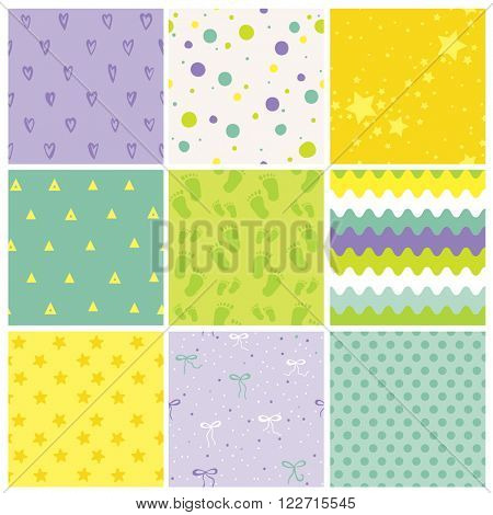 9 Seamless Baby Patterns. Baby Texture. Wallpaper. Vector Background. Geometric Patterns.