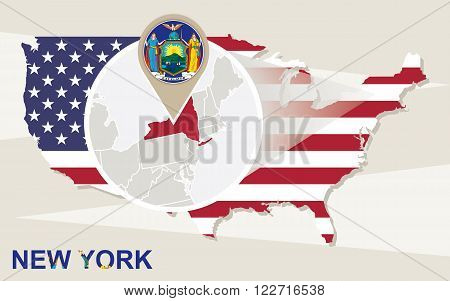 Usa Map With Magnified New York State. New York Flag And Map.
