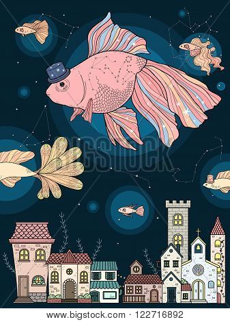 Fancy Goldfish Coloring Page