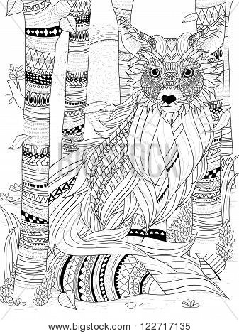 Fluffy Fox Coloring Page