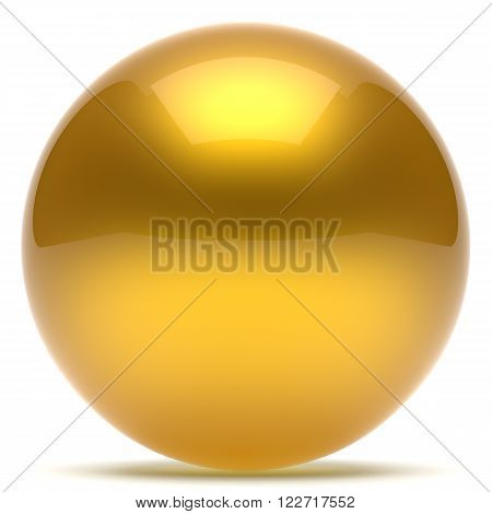 Sphere ball geometric shape button round basic circle solid figure simple minimalistic element single yellow golden gold shiny glossy sparkling object blank balloon atom icon. 3d render isolated