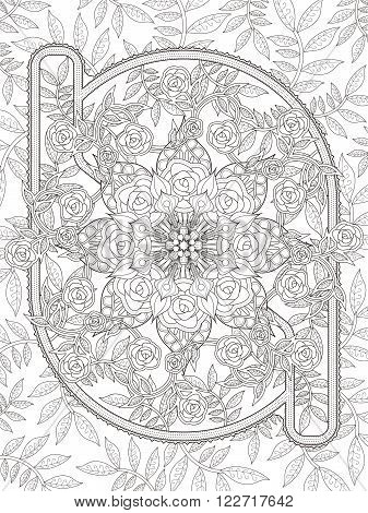 Retro And Elegant Floral Coloring Page