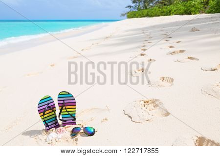 Multicolored flip-flops and sunglasses on a sunny beach. Tropical beach vacation and travel concept