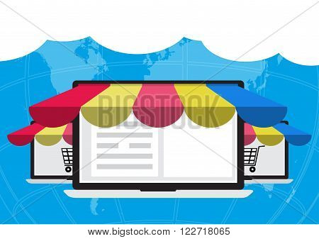 Concept of online shopping on laptop computer connected to internet online to selling and buying on word map and cloud. E-Commerce online shopping concept.