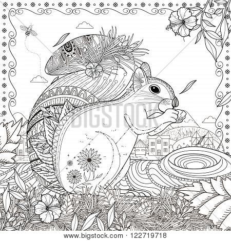 Adorable Squirrel Coloring Page