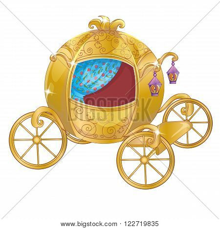 Vector illustration of gold carriage for princess or Cinderella
